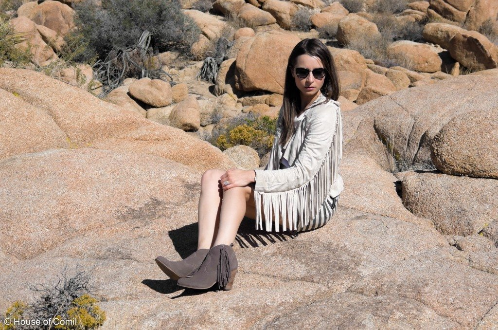 House of comil+ Fashion + Style + Blog + coachella + fringed jacket + suede californian + fringed boots + steve madden + joshua park + palm springs + joshua tree