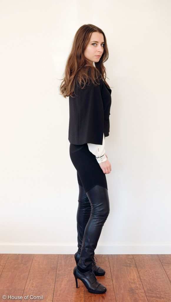 House of comil + new goth + House of Comil + Fashion + Style + Blog + zara + bcbg max azria + black and white + pompom earrings + cape