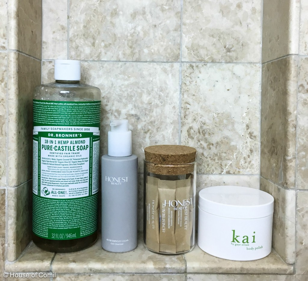dr bronners + the honest beauty + kai + organic shower gel + natural scrubs + + natural + products + beauty + los angeles blogger + french blogger + house of comil + houseofcomil + natural skincare + natural skin care