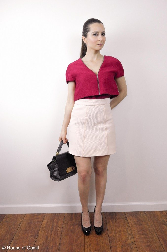 shell + skirt + top + matching + color-block + style + outfit + house of comil + maje + finders keepers + fashion + blogger + bag + zac posen