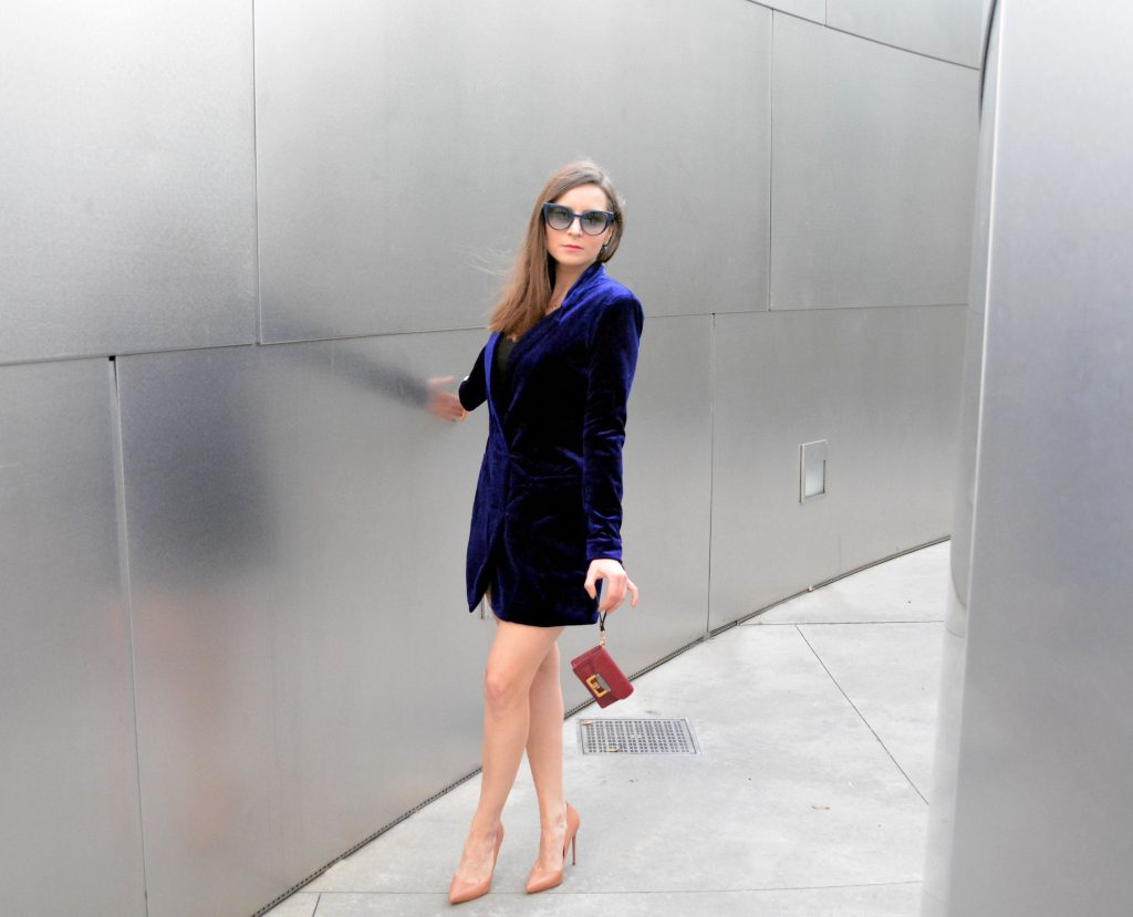 The Jumpsuit and The Velvet Blazer jacket to be stylish for New Year's Eve. Get some outfit ideas on Houseofcomil.com Click to read more or pin to save for later.