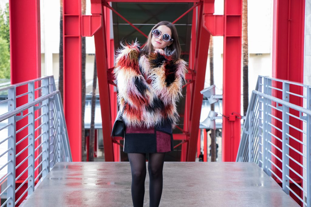 LACMA + yeti + coat + faux fur + multi color + patchwork + a line + skirt + suede + faux suede + picasso + rivera + romeo + juliet + couture + romeo & juliet couture + Lablogger + style + blogger + fashion + inspiration + house of comil + lifestyle + houseofcomil + look + outfit + la blogger + blogger + fashion blogger