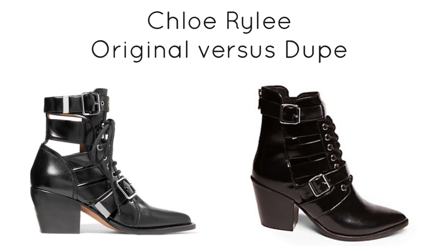 Chloe Rylee Ankle Boots Original versus Dupe