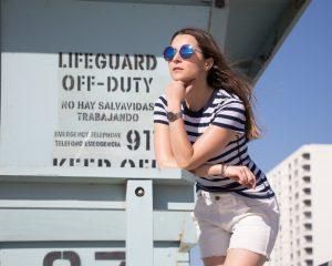 Three dots + Marine + Stripes + tee + casual + effortless chic + summer style + spring style + HERITAGE RIB STRIPE CREWNECK + los angeles blogger + la blogger + french basics + american basics + velvet eyewear + margo