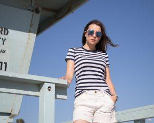 Three dots + Marine + Stripes + tee + casual + effortless chic + summer style + spring style + HERITAGE RIB STRIPE CREWNECK + los angeles blogger + la blogger + french basics + american basics