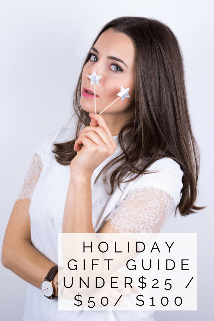 Holiday gift guide 2018: Fashionable gifts under $25, $50 and $100. Guide curated by a fashion blogger Julia Comil to find the best gifts for women in 2018