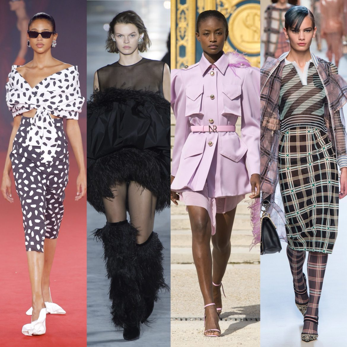 Spring 2018 Trends: Fashion Week coverage - Graphic Black and White - Saint Laurent - Off-White - Balmain. More Spring 2018 Fashion Week coverage on Houseofcomil.com. Pictures from Vogue