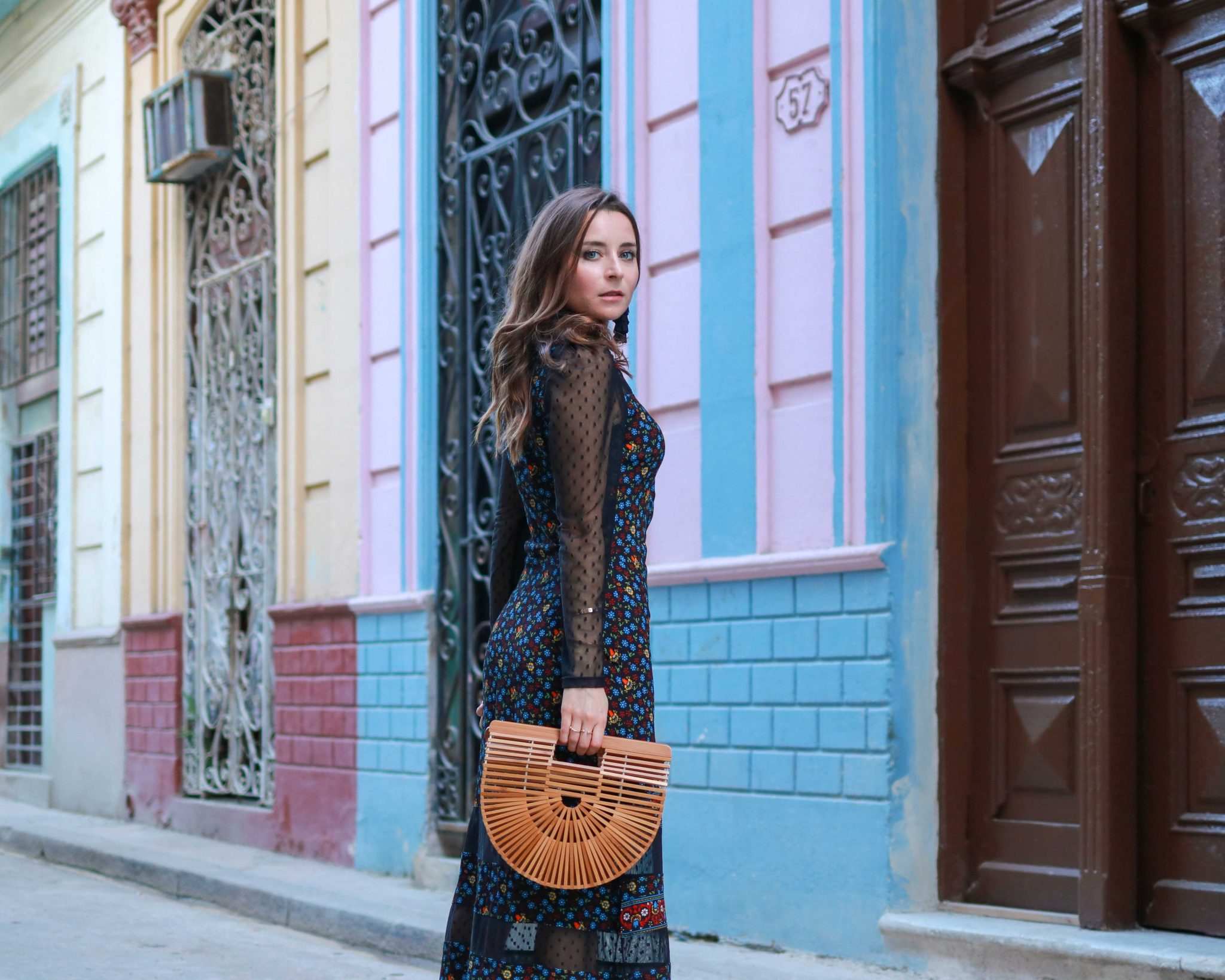 Folk Long Dress and Arc Bamboo Bag Small by Cult Gaia - Cuba Fashion Diaries: The Winter dress from Maje Paris. Rezia: A long dress perfect for the petite silhouette. By French fashion blogger. Inspirations and more on Houseofcomil.com