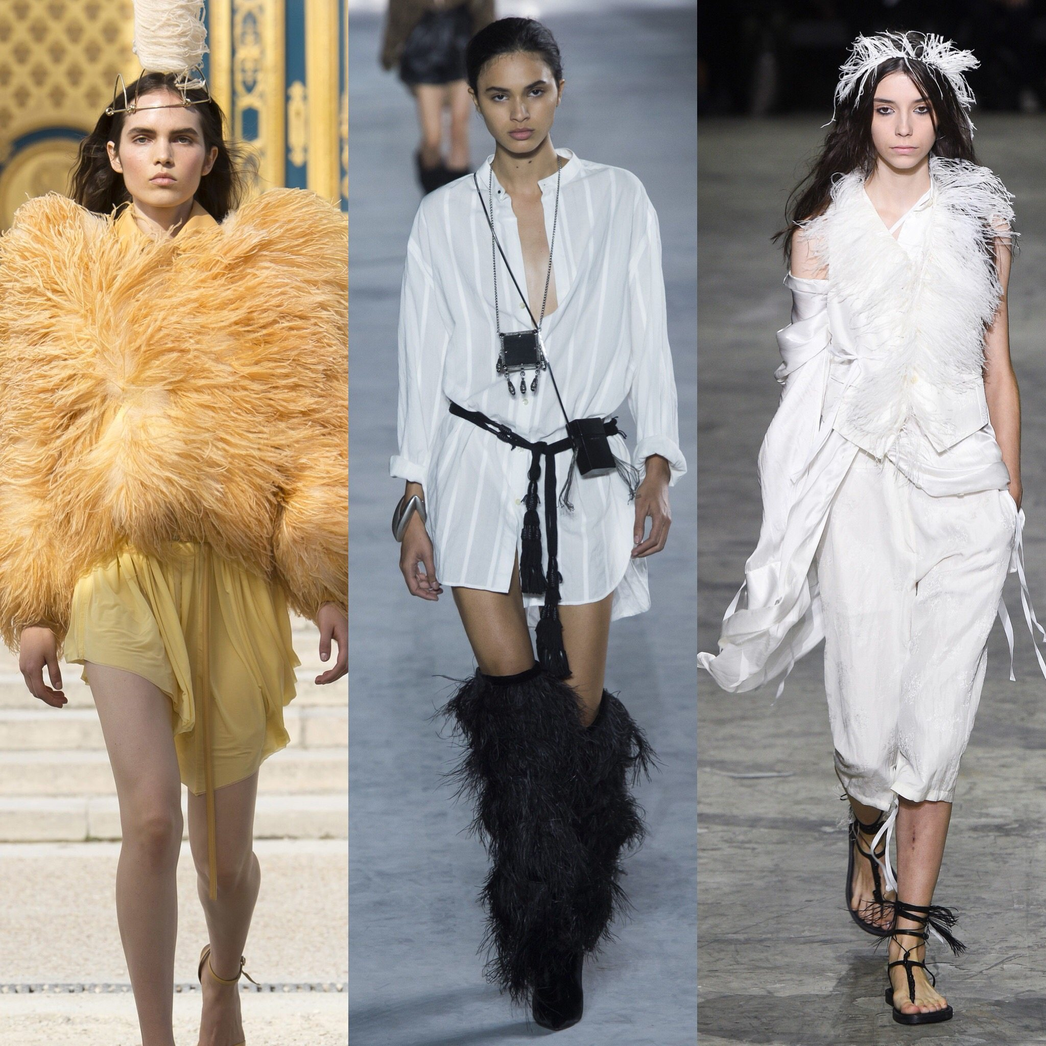 Spring 2018 Trends: Fashion Week coverage - Feather Fever - Nina Ricci - Saint Laurent - Ann Demeulemeester. More on Houseofcomil.com. Pictures from Vogue
