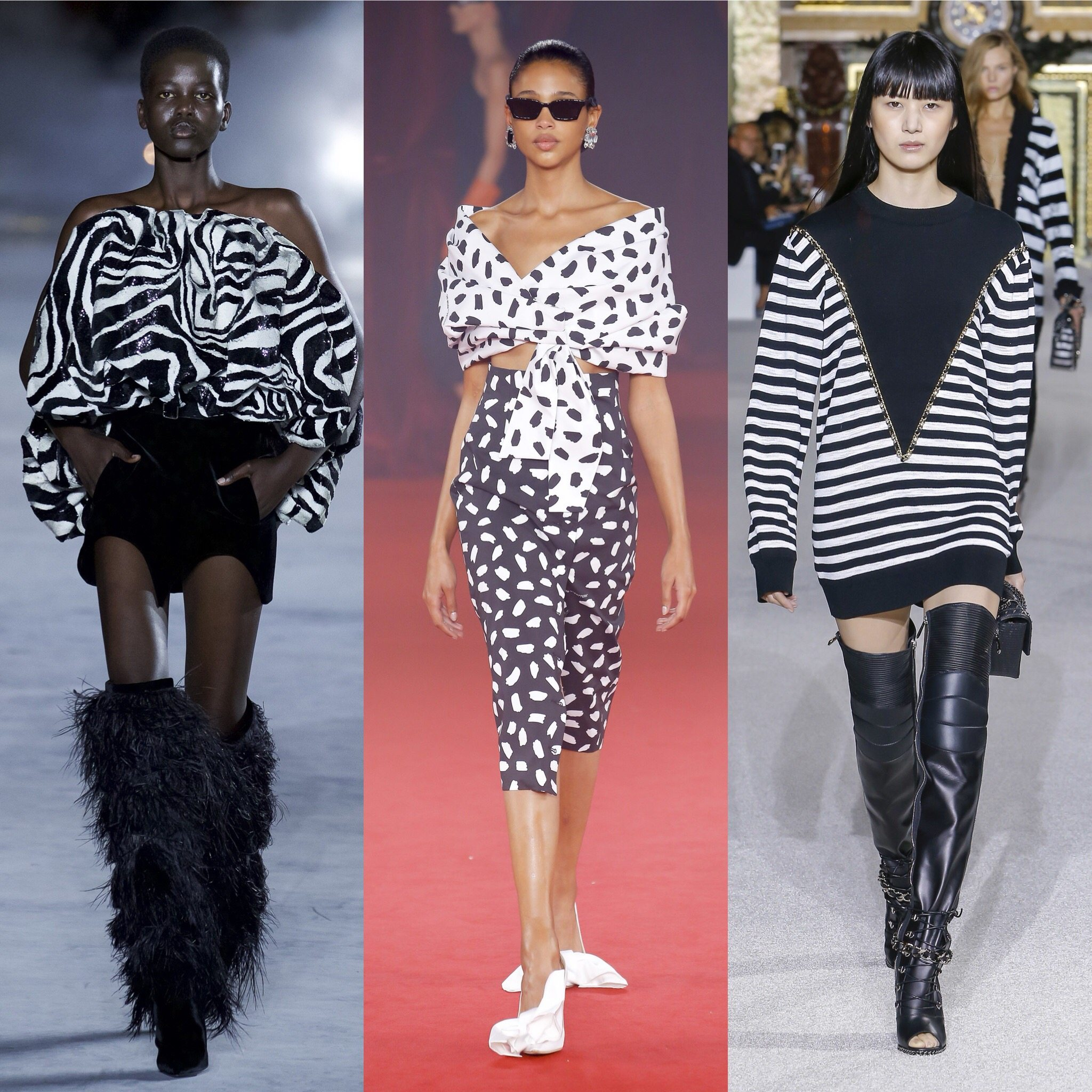Spring 2018 Trends: Fashion Week coverage - Graphic Black and White - Saint Laurent - Off-White - Balmain. More on Houseofcomil.com. Pictures from Vogue