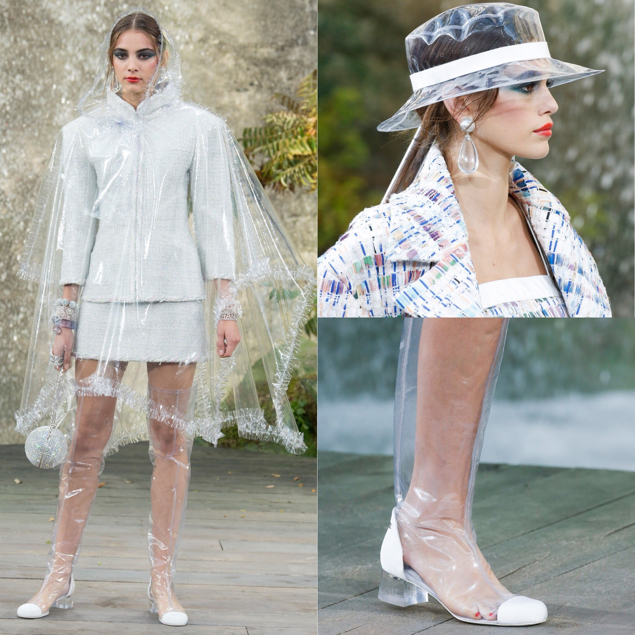 Spring 2018 Trends: Fashion Week coverage - Life in plastic is fantastic: Chanel runway using plastic boots, plastic coat and hat, Mudler plexi heels and Balmain plastic boots. More on Houseofcomil.com
