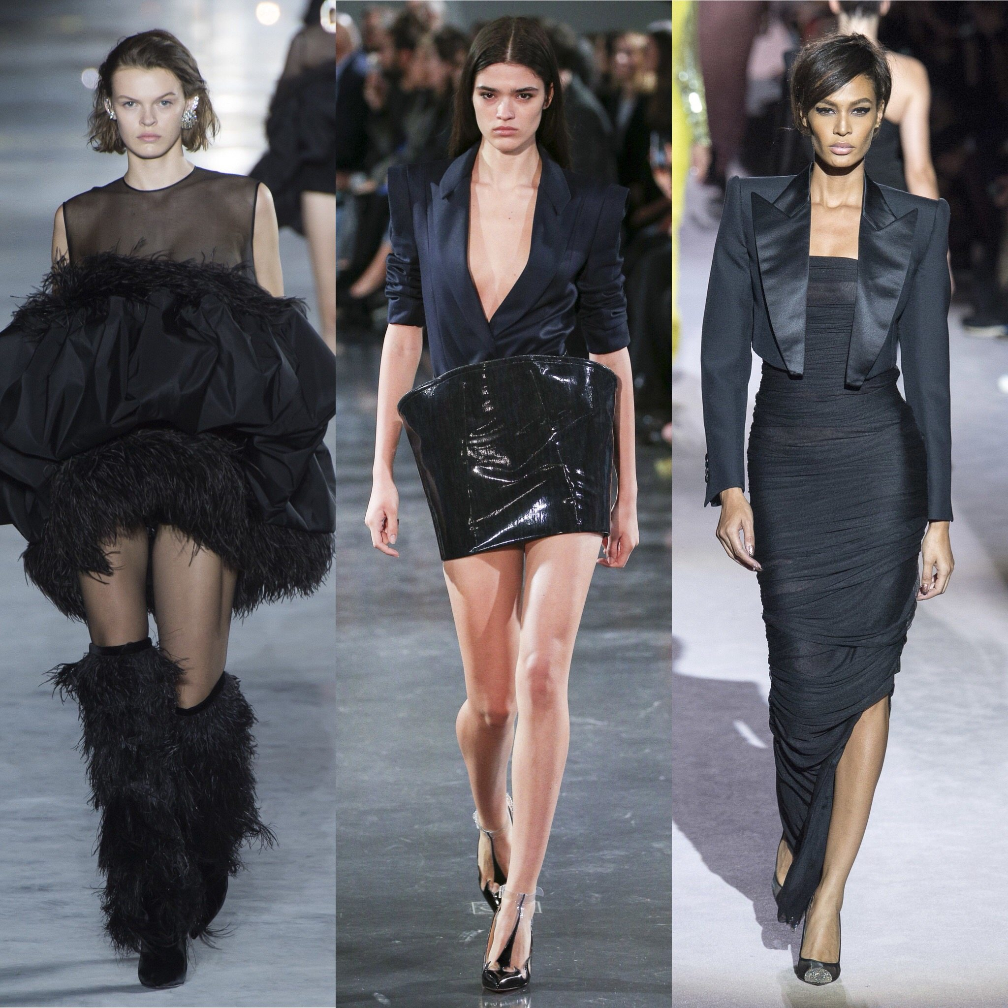 Spring 2018 Trends: Fashion Week coverage - Black Monochrome - Saint Laurent - Mugler - Tom Ford. More on Houseofcomil.com. Pictures from Vogue