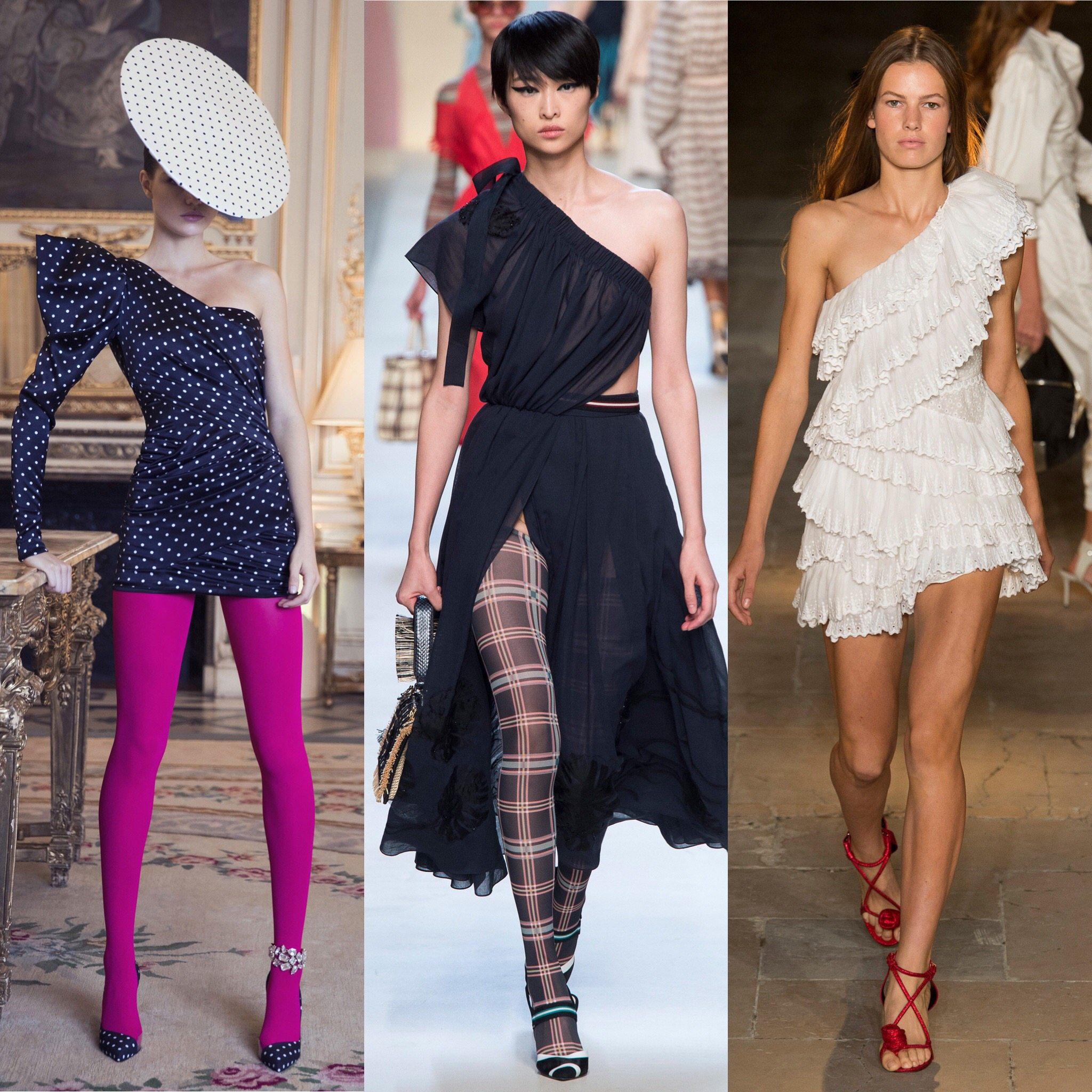 Spring 2018 Trends: Fashion Week coverage - One shoulder dress and overalls - Alexandre Vauthier - Fendi - Isabel Marant. More on Houseofcomil.com. Pictures from Vogue