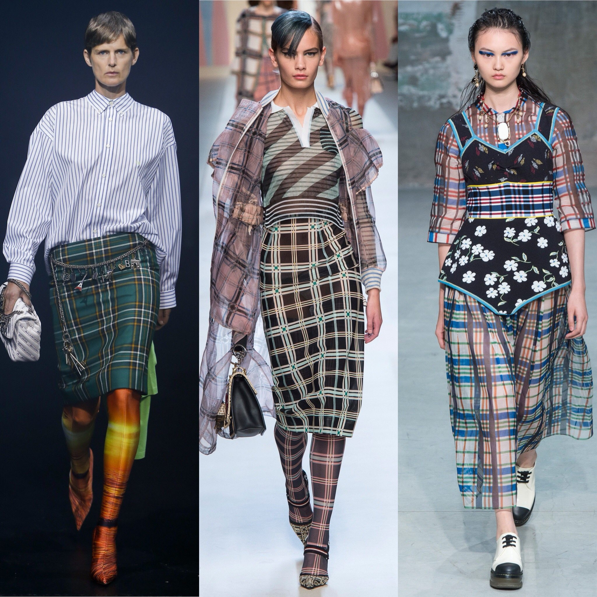 Spring 2018 Trends: Fashion Week coverage - Plaids: Balenciaga - Fendi - Marni. More spring runway trends on Houseofcomil.com. Pictures from Vogue - Spring Fashion 2018