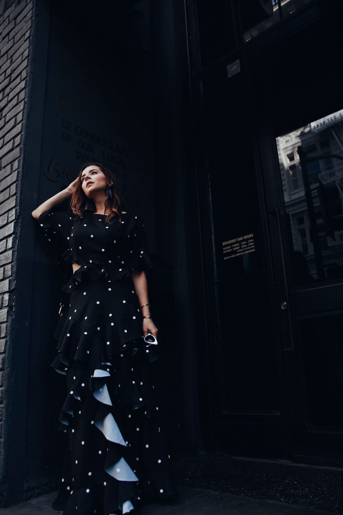 Evening dresses with Fame and Partners, A LA brand specialized in wedding party dresses. Julia Comil, French Fashion blogger in Los Angeles features the black and white polka dots Maritza dress from Fame and Partners - shot in Downtown Los Angeles