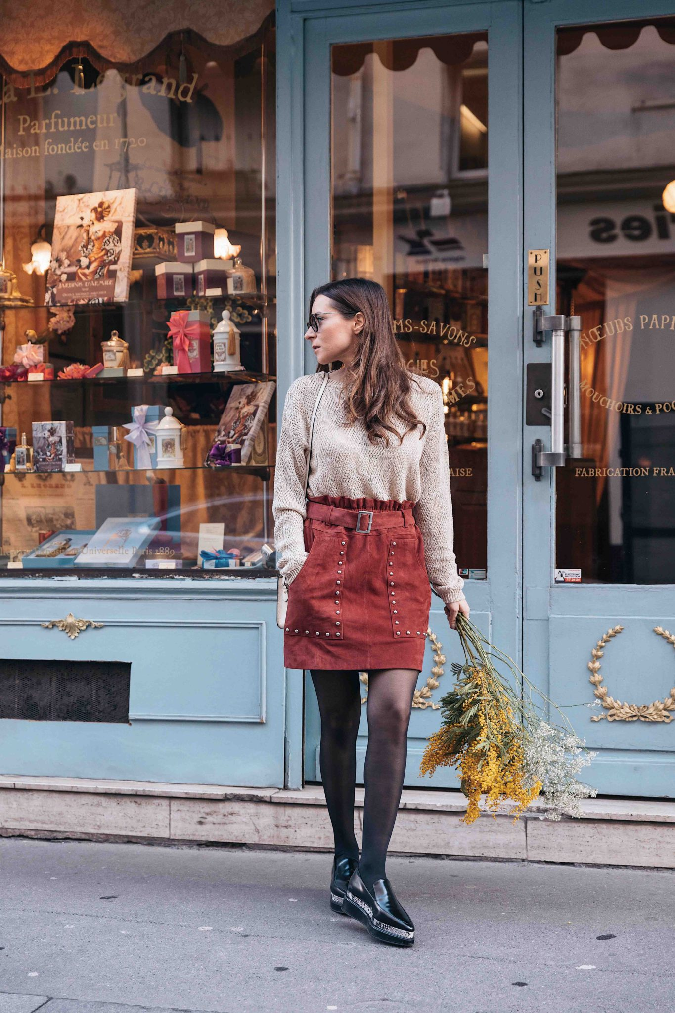 Parisian style by Julia Comil French Fashion Blogger Wearing Seven All Around Platform Loafers - Strathberry Bag - Berenice Skirt and American Vintage Sweater - Save to read more about Seven all around review on Houseofcomil.com