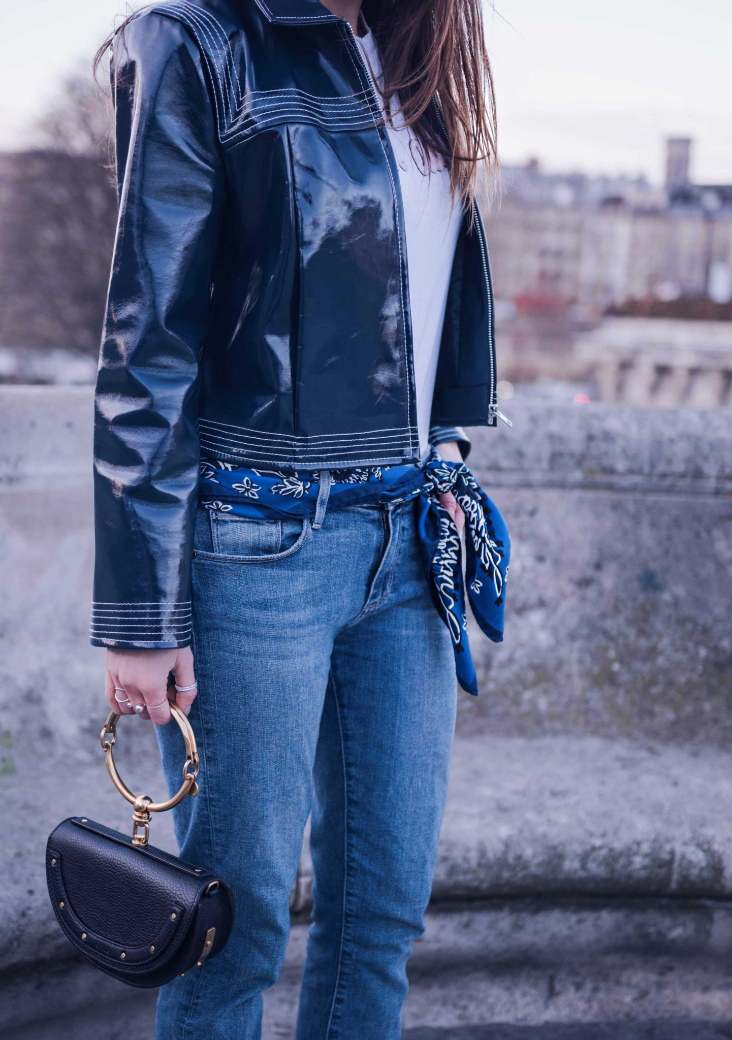 How to style the patent leather jacket on Houseofcomil.com