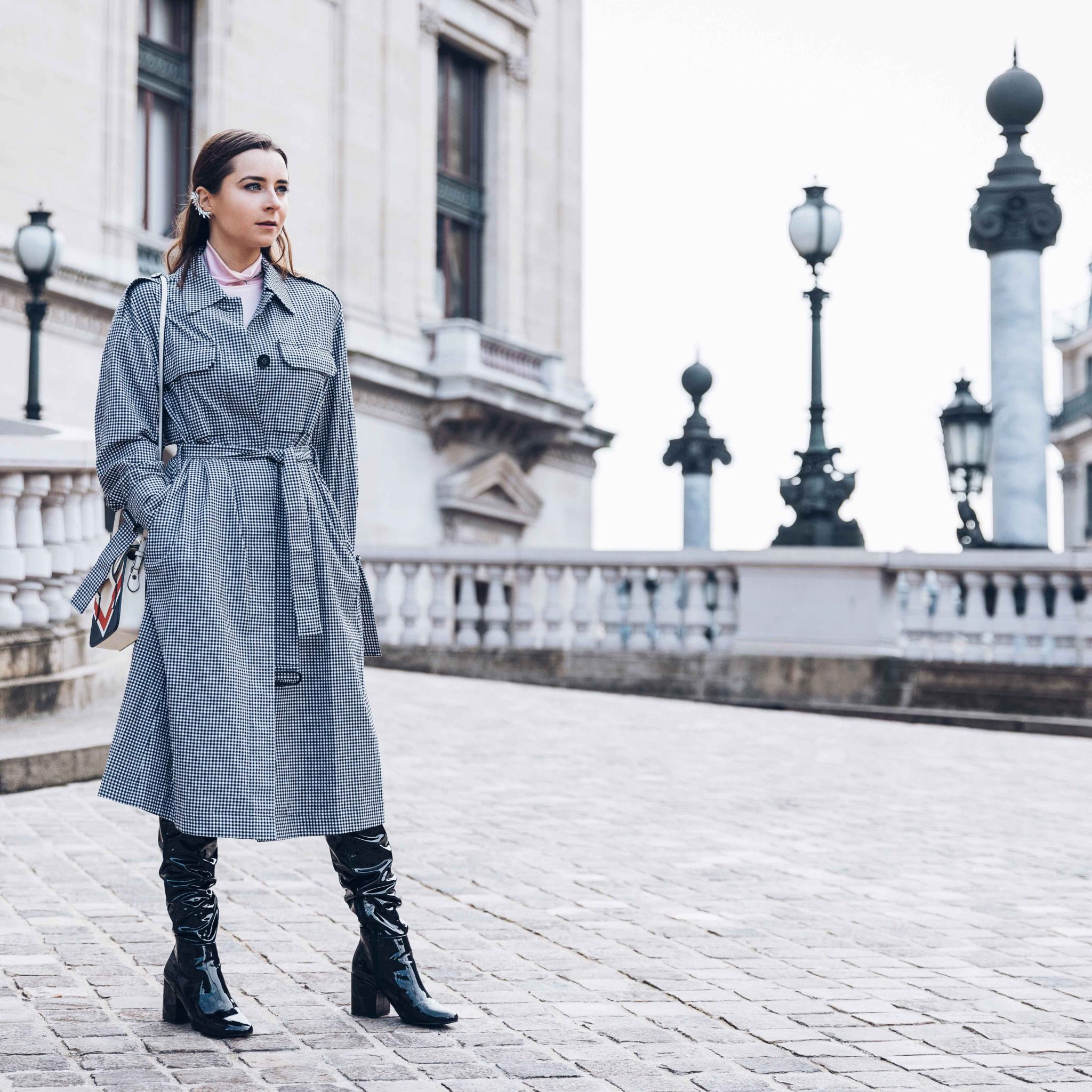 Spring Trench Coat - Gingham Trench Coat - Long Trench coat - Trench coat for women 2018 - Paris - Fashion Blogger