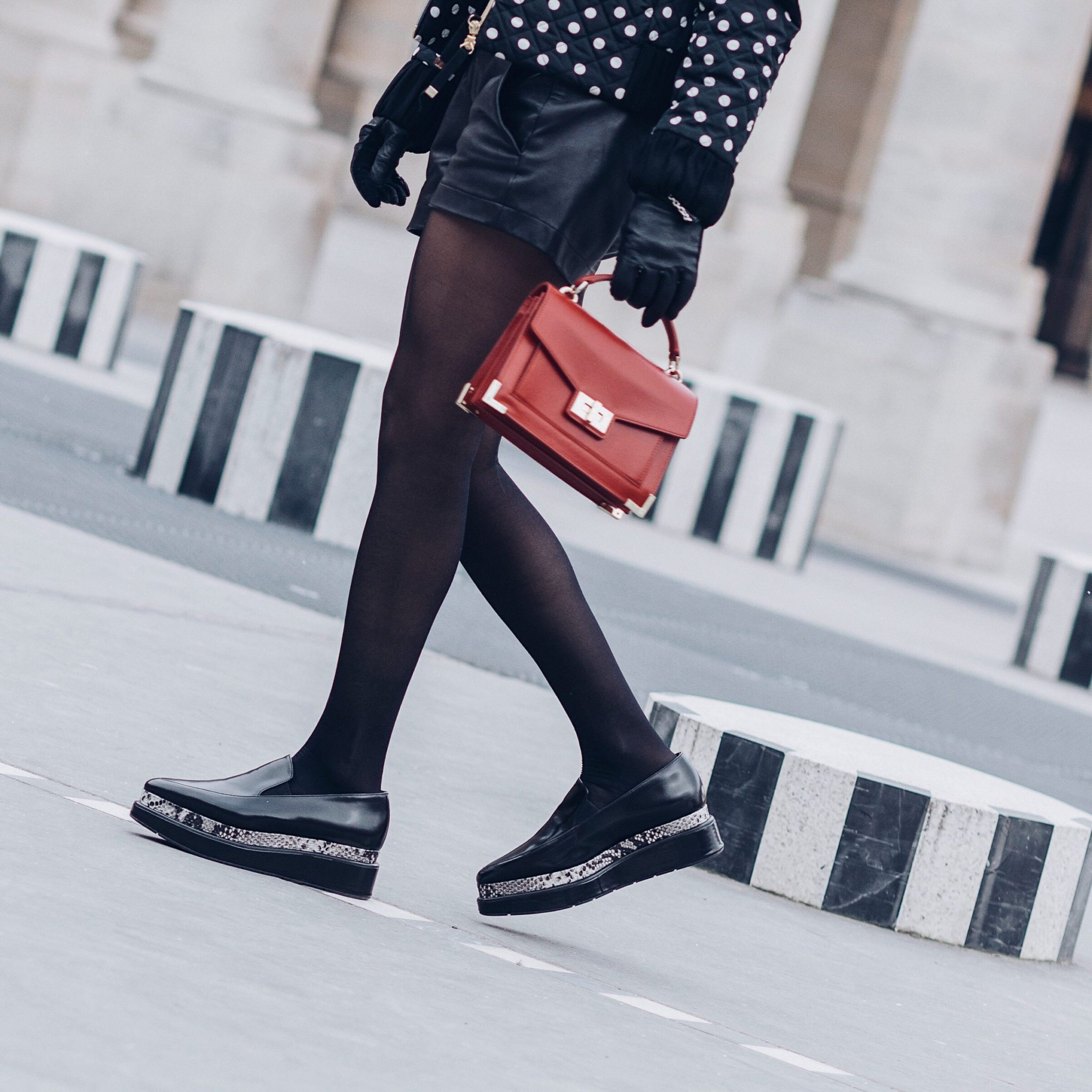 Parisian style by Julia Comil French Fashion Blogger Wearing Seven All Around Platform Loafers - The Kooples Emily Bag - Tara Jarmon Red sweater - Tara Jarmon Polka dots Bomber Jacket - Save to read more about Seven all around review on Houseofcomil.com