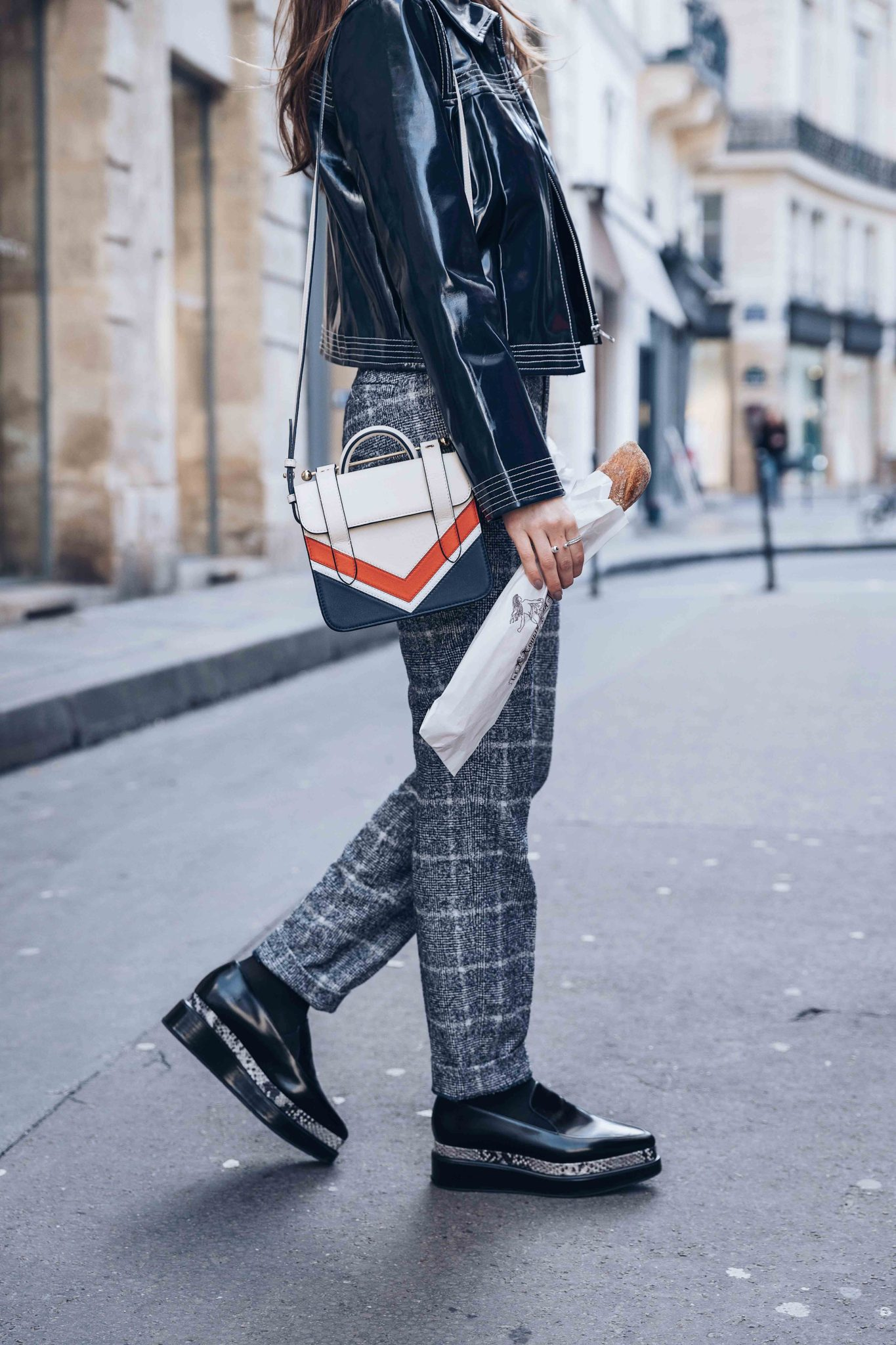seven all around coupon code JULIA20 - Parisian style by Julia Comil French Fashion Blogger Wearing Seven All Around Platform Loafers - Strathberry Bag - Suistudio check pants - Ganni Patent cropped jacket - Save to read more about Seven all around review on Houseofcomil.com