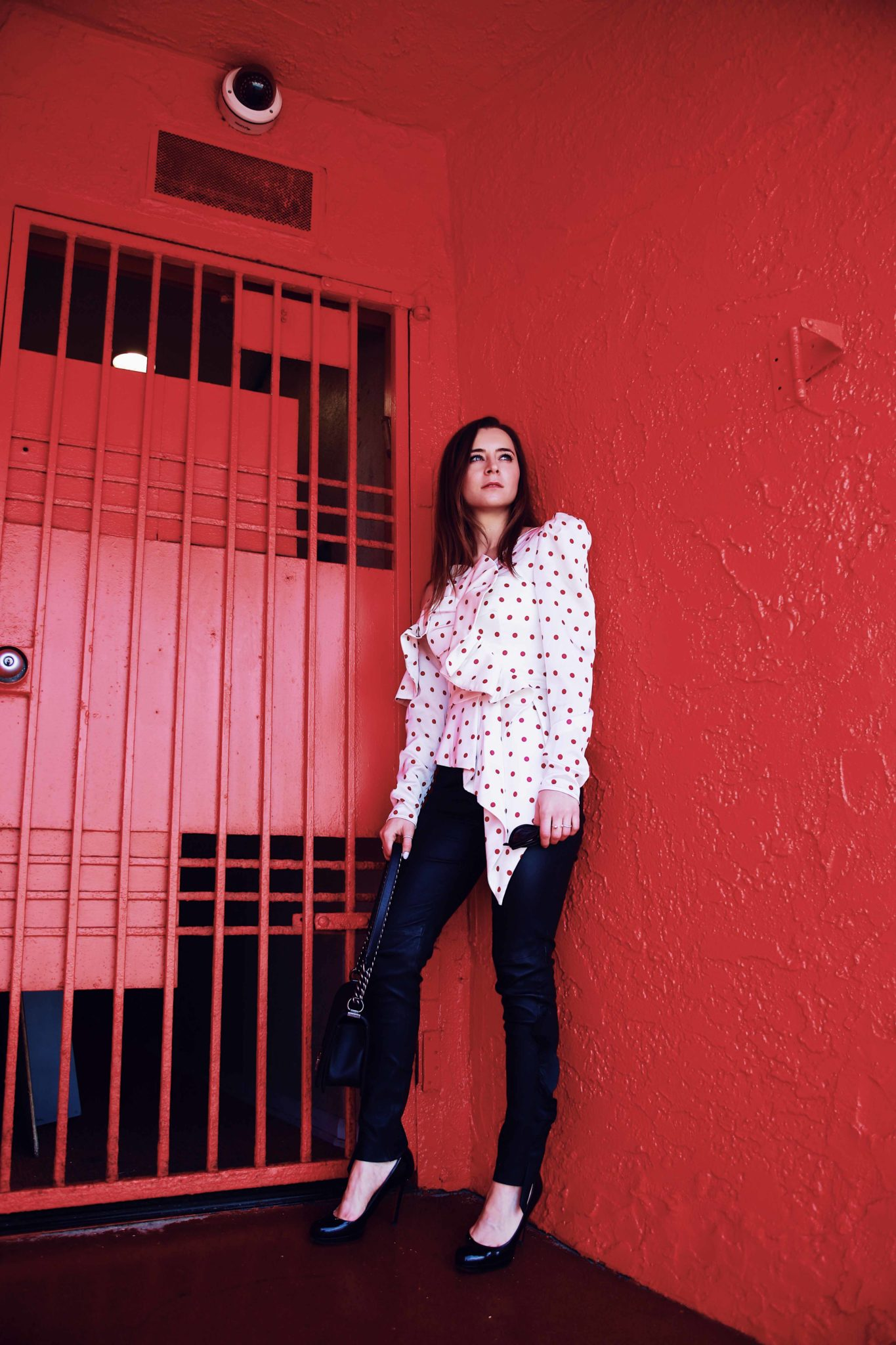 Ruffled skinny leather pants by Iro and structured polka dots blouse by Self Portrait via If Chic - More about this sophisticated and edgy look on Houseofcomil.com