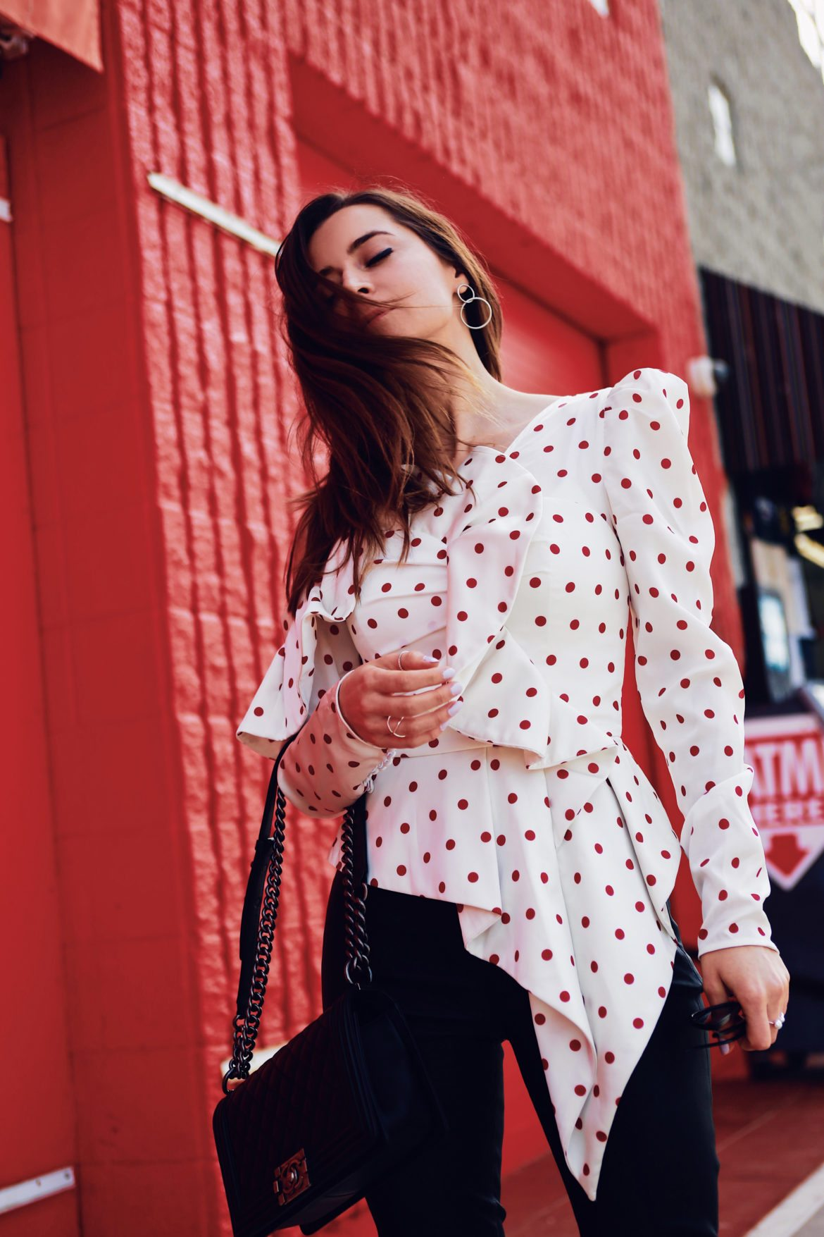 Ruffled skinny leather pants by Iro and structured polka dots blouse by Self Portrait via If Chic - More about this sophisticated and edgy look on Houseofcomil.com. Pictures by Julia Comil Los Angeles Fashion Blogger