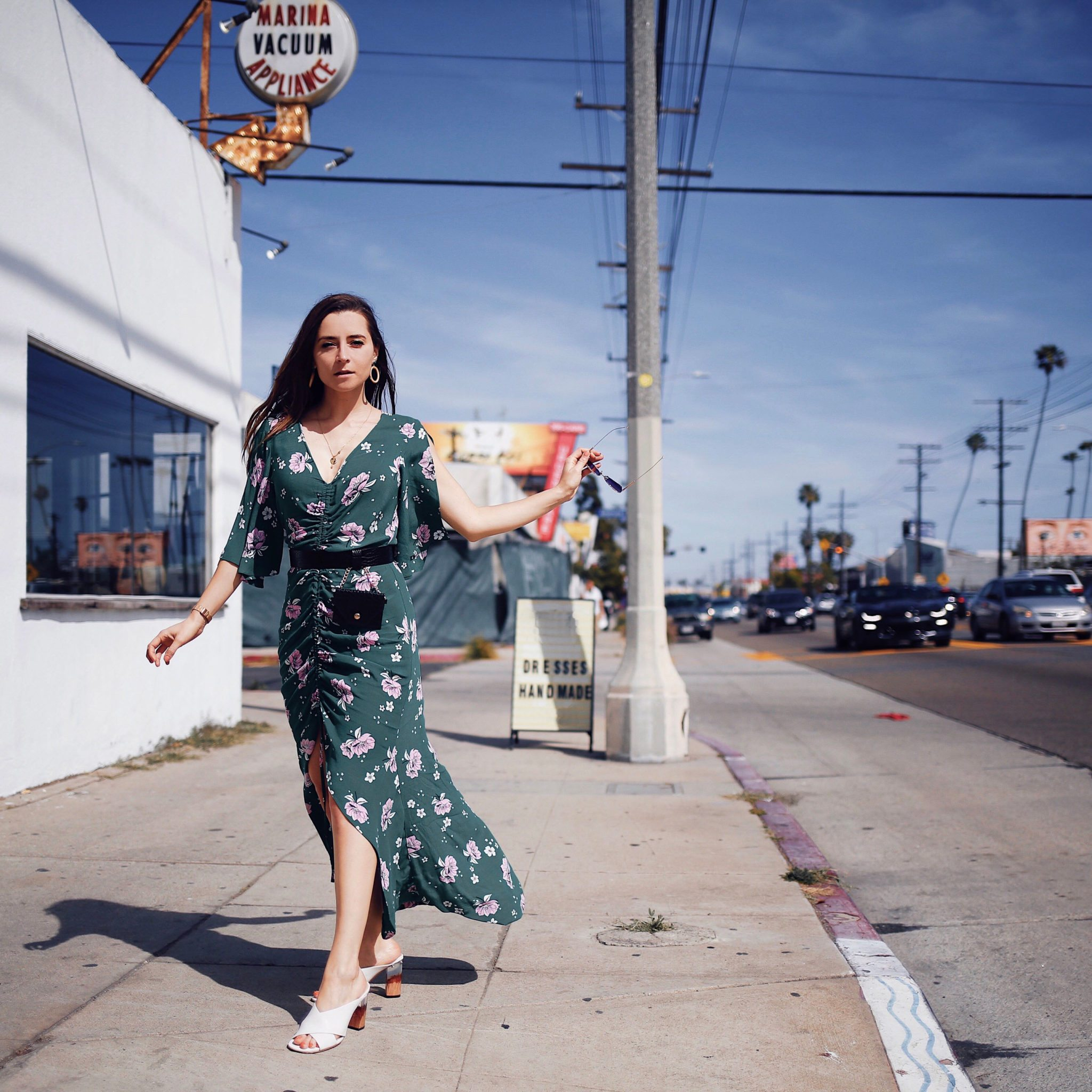 Green floral print ruched front maxi dress by river island - Update your spring wardrobe with the floral trend: floral blazer, floral jumpsuit, floral dress, floral pants. Spring wardrobe essentials 2018 from River Island curated by Julia Comil, Los Angeles Fashion Blogger. River Island Review