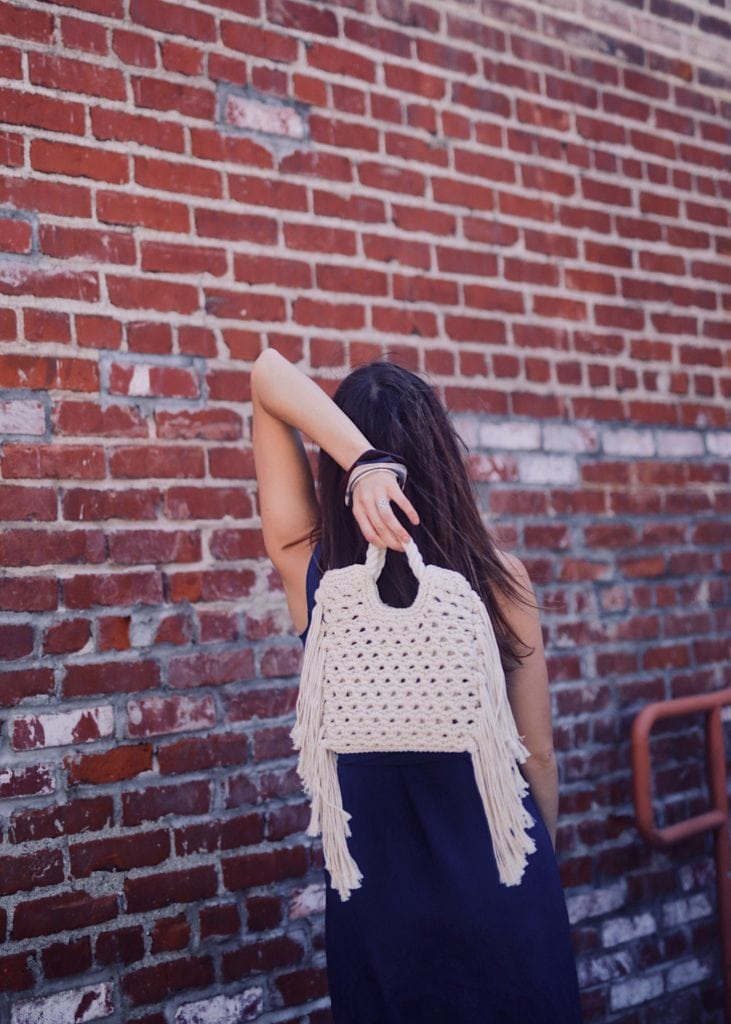 Beach bag - Summer Bag in Macrame by Whowhatwear collection available at Target - Styled by fashion blogger Julia Comil