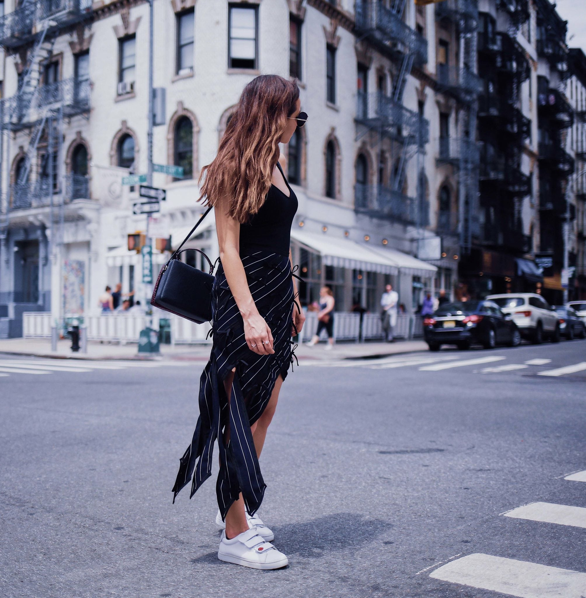 French style: the pin striped skirt by Self Portrait via If Chic. Worn by Julia Comil