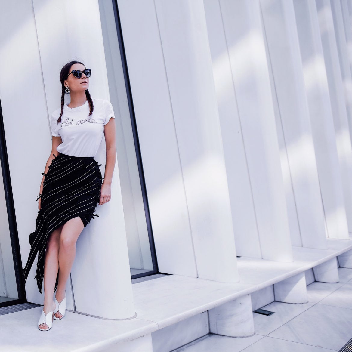 Street Style - New York style: the pin striped skirt by Self Portrait via If Chic. By Julia Comil french fashion blogger