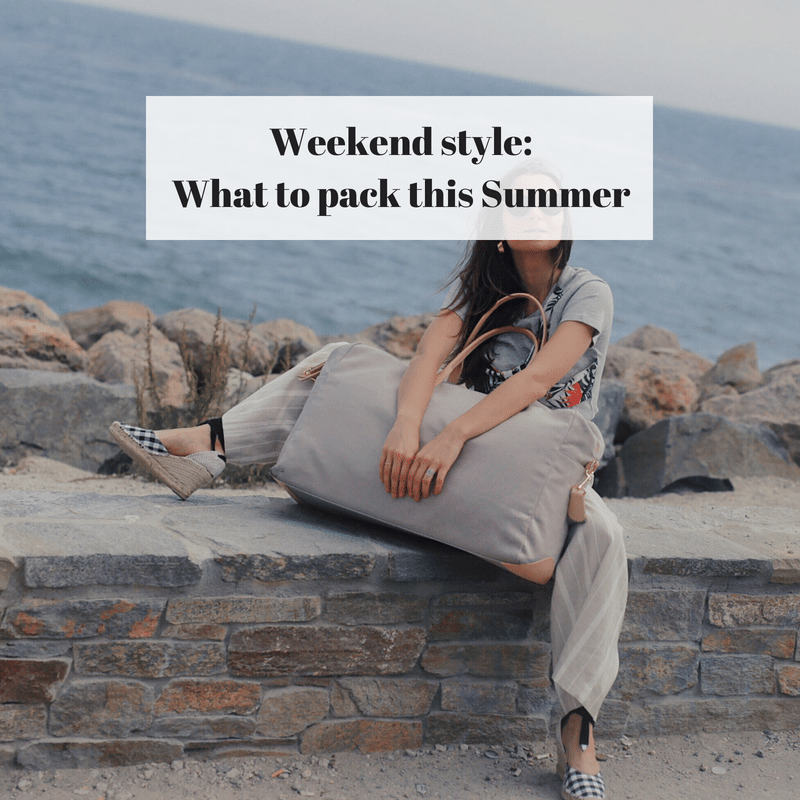What to pack this Summer for a weekend escape: Summer Must-Have Items to pack - Review of cuyana weekender bag - weekend style ideas and cuyana review on Houseofcomil.com