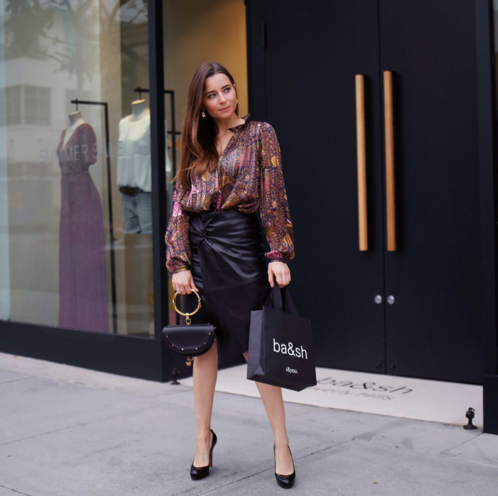 Bash Paris Lea Leather Skirt how to wear the leather skirt this fall