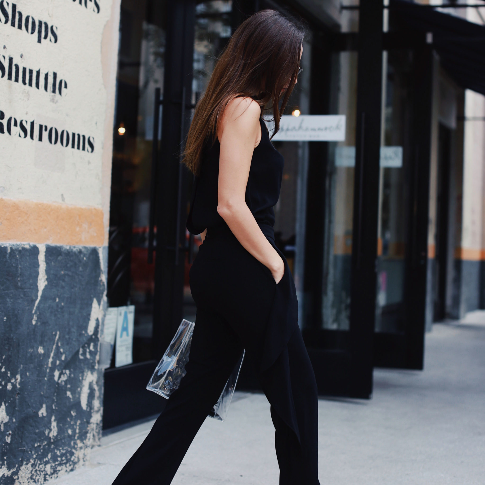 Fall transitional outfit ideas: the black jumpsuit! How to style it and discover the latest black jumpsuit from Halston Heritage. By Julia Comil Fashion Blogger in Los Angeles