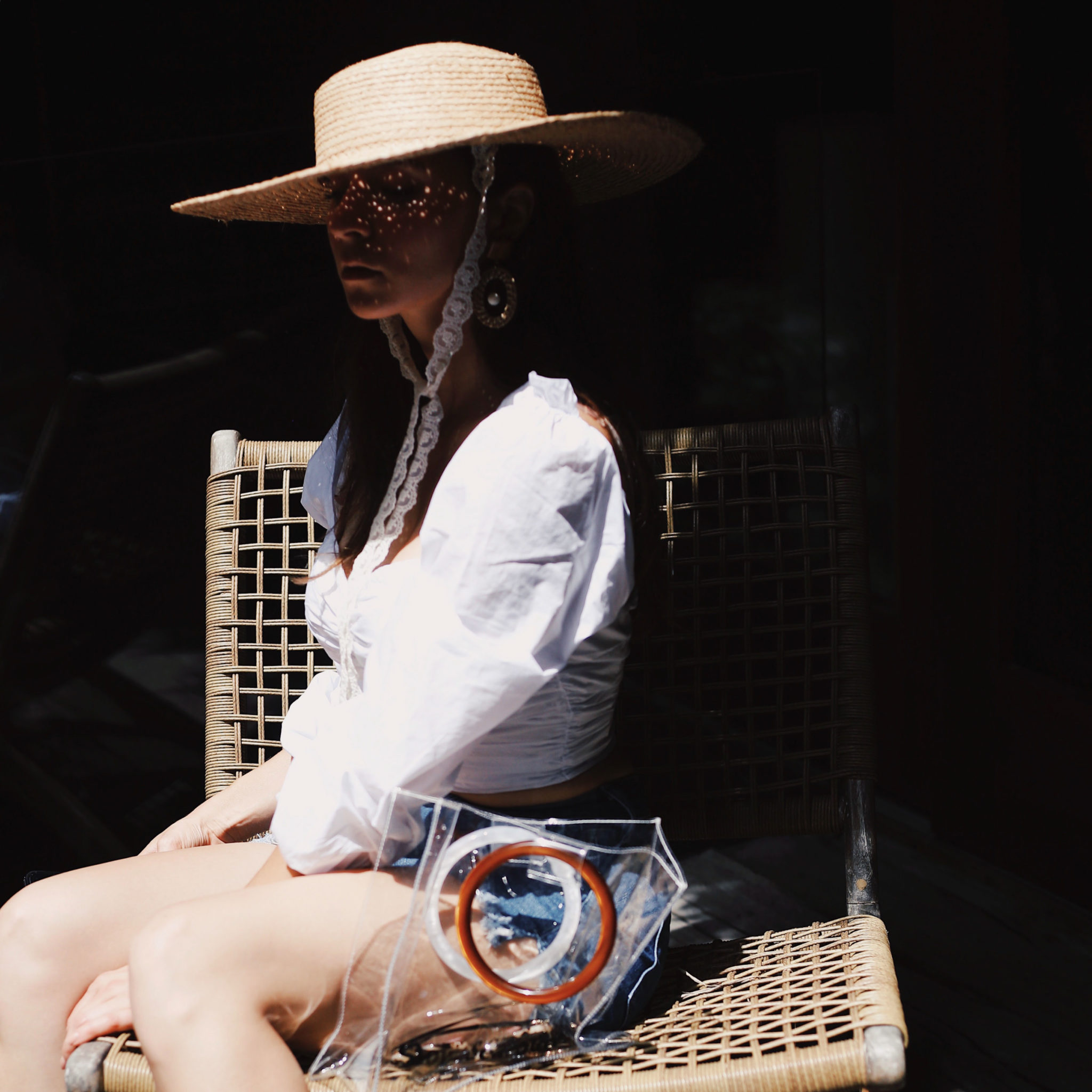Where to buy trendy accessories that no one has. W concept raffia hat pvc bag and wood earrings - by Julia Comil fashion blogger