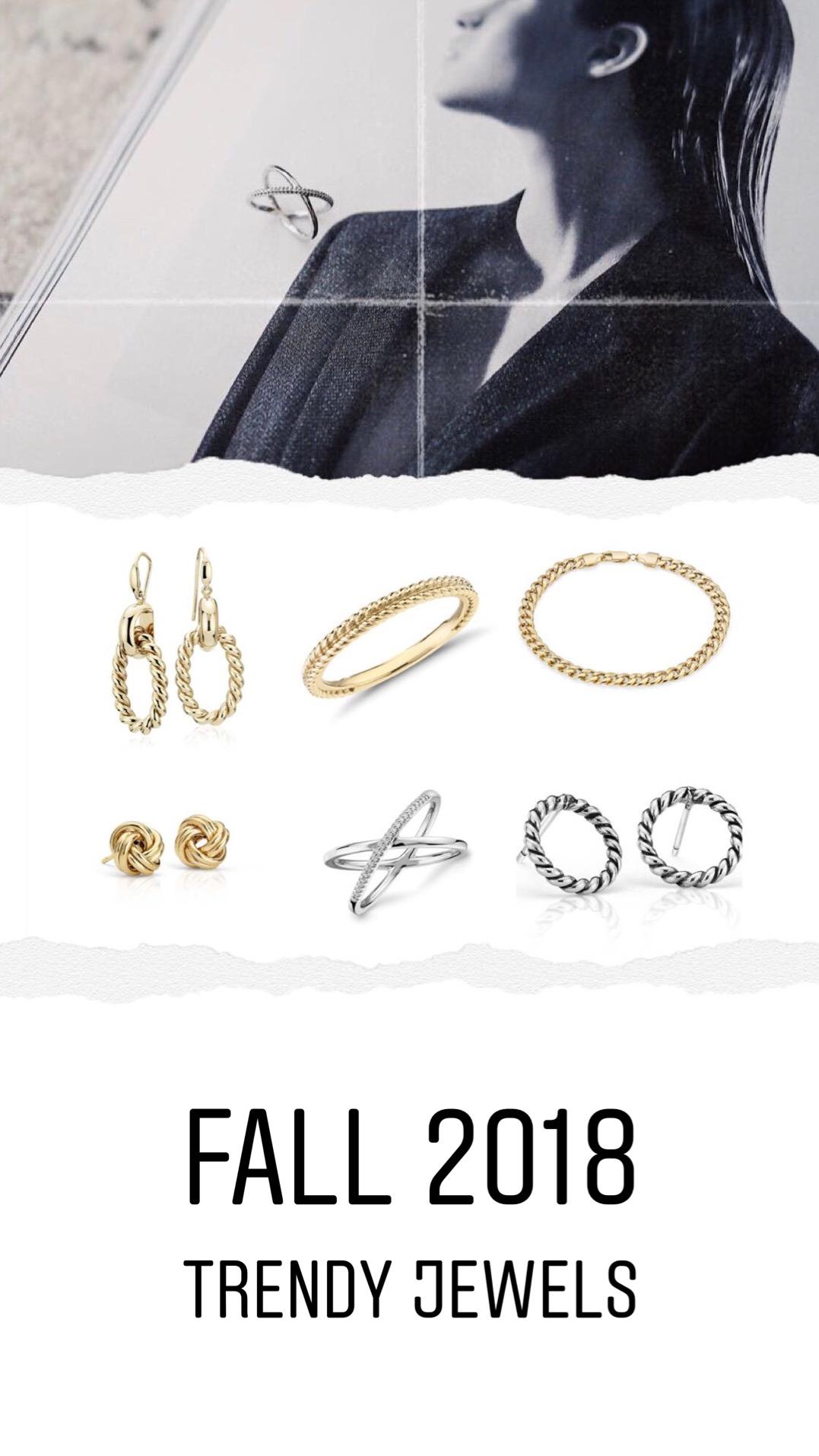 fall 2018 trendy jewels: minimal ring and rope jewels dad jewels blue nile diamond