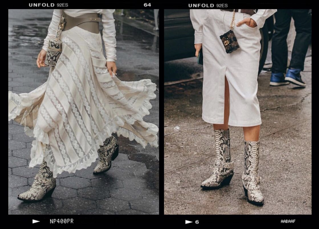 Aimee Song from Song of Style wearing the Zimmermann Python Boots during New York Fashion Week. How to wear the python ankle boots on Houseofcomil.com. September 2018 #NYFW.