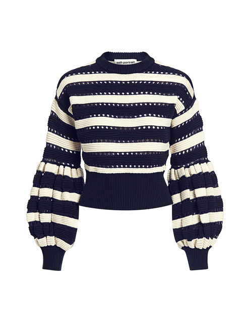 Best designer sweaters. Make an impact with a designer sweater. Find your designer sweater to be cozy and stylish this Winter. If Chic self-portrait balloon sleeve striped cropped sweater navy stripe
