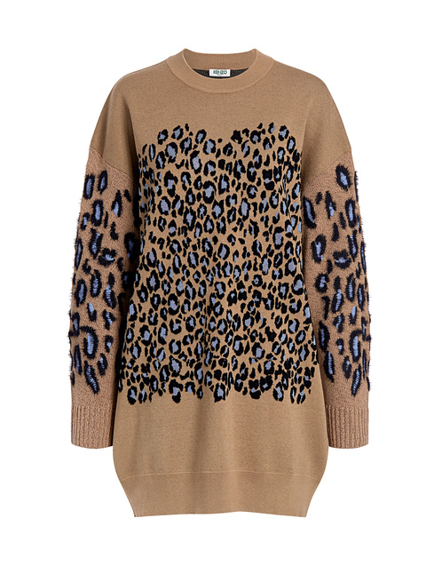Best designer sweaters. Make an impact with a designer sweater. Find your designer sweater to be cozy and stylish this Winter. IF CHIC Kenzo designer sweater leopard oversized sweater mini dress dark beige