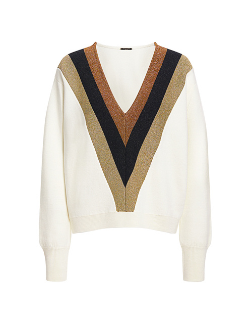 Best designer sweaters. Make an impact with a designer sweater. Find your designer sweater to be cozy and stylish this Winter. Caroline Constas designer sweater lurex striped v-neck wool sweater white multi