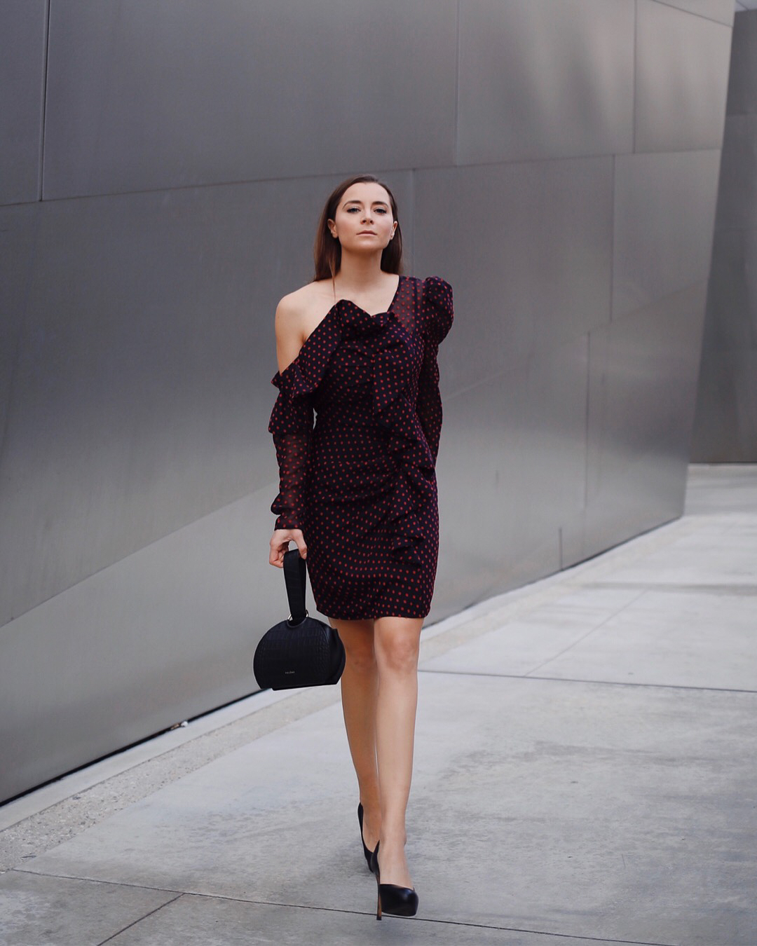 What to wear for the Holiday Party - Holiday Party dresses on ModeRsvp.com. The polka dots structure one shoulder dress by Mr. Self Portrait