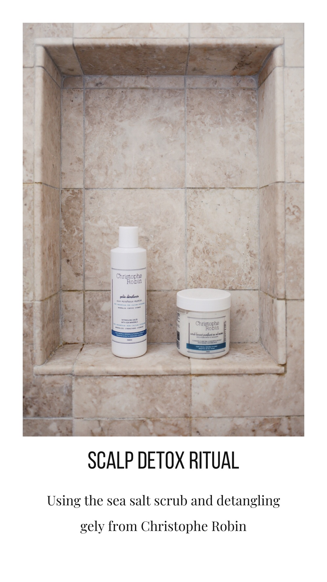 My Christophe Robin Scalp Detox Ritual with the purifying sea salt scrub and detangling gelee with sea minerals. Get all the details of my weekly hair ritual and 20% off and free shipping at ChristopheRobin.com with my discount code Julia20