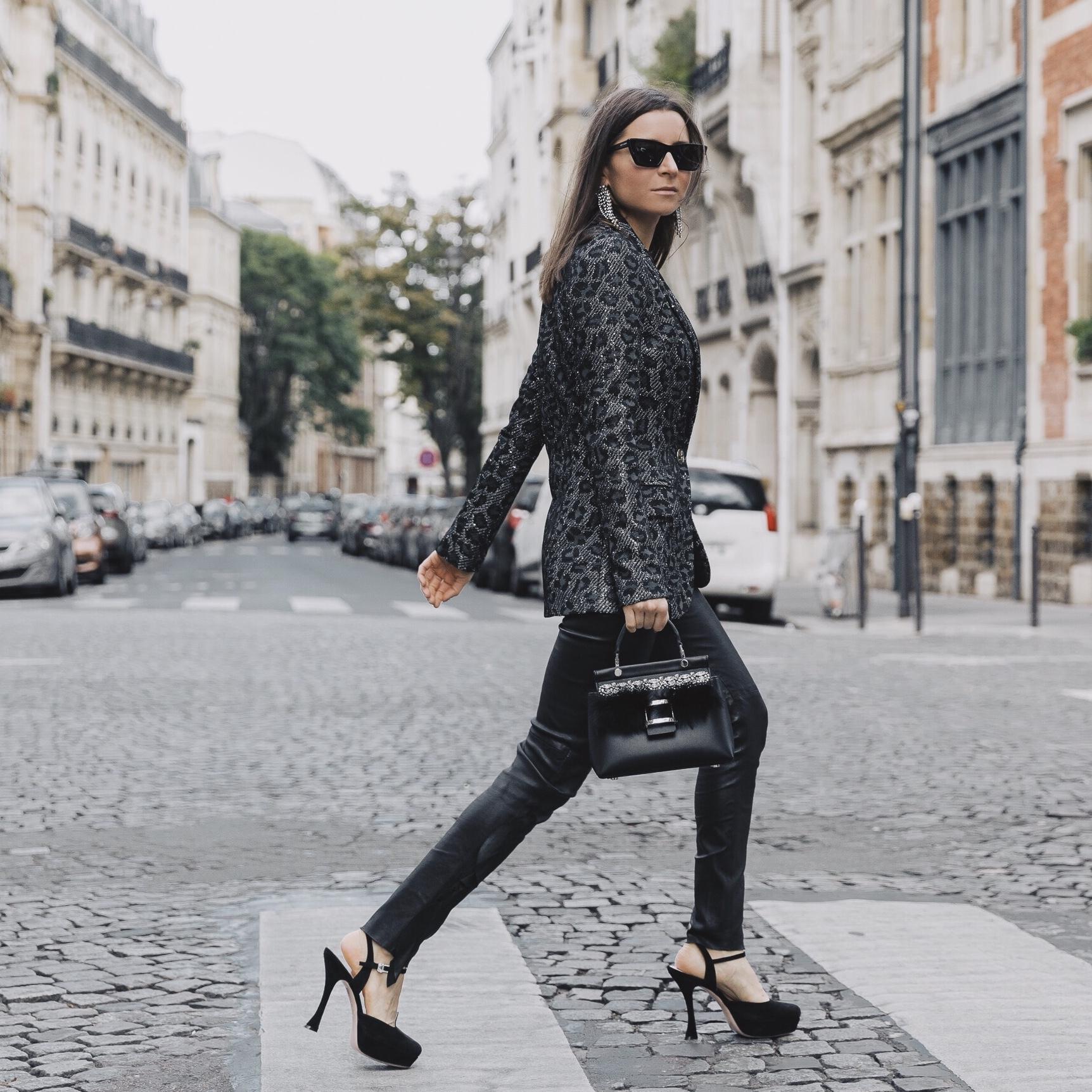 PFW SS20 Street Style Fall 2019 Paris Fashion Week Julia Comil wearing Iro pants, jacket Saint John, pumps Roger Vivier, Bag Roger Vivier