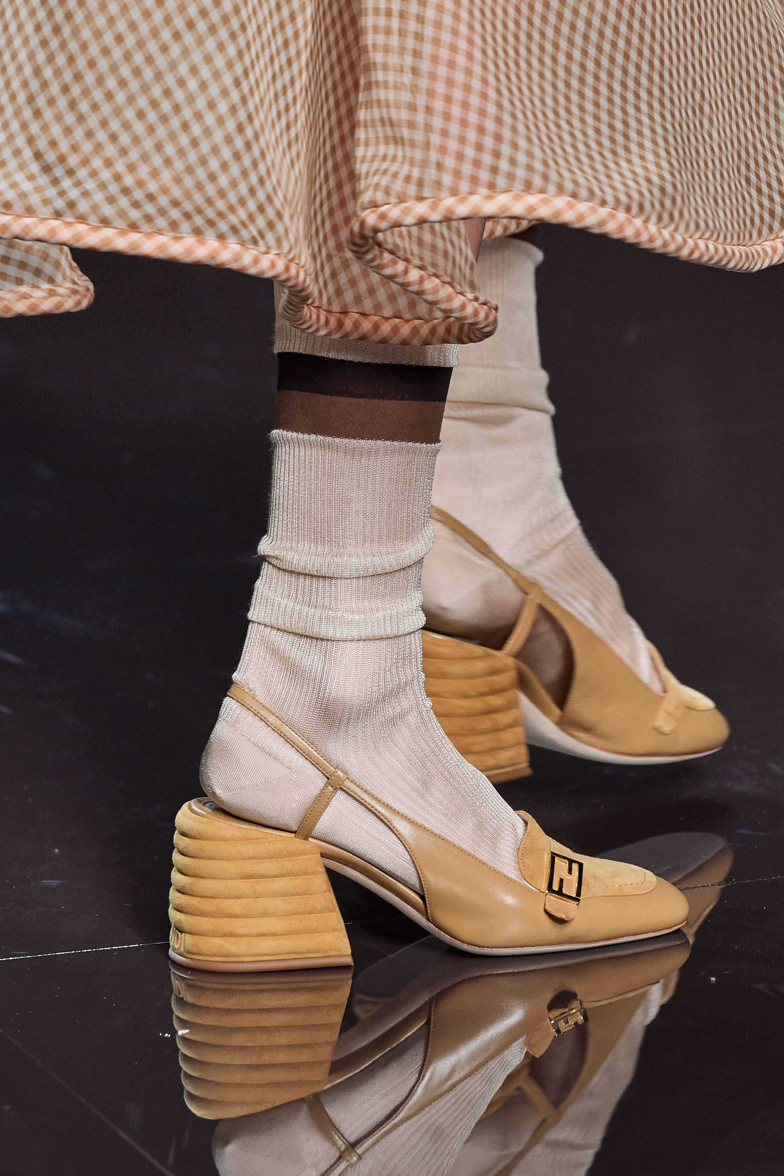 Fendi Spring Summer 2020 SS2020 trends runway coverage Ready To Wear Vogue slingback and socks