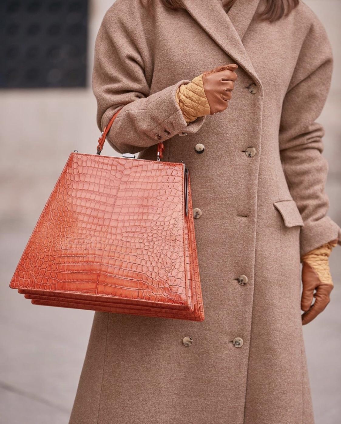 PFW SS20 Street Style Fall 2019 Paris Fashion Week Julia Comil nehera coat chanta large orange bag isa wandler pumps, quilted gloves Nehera