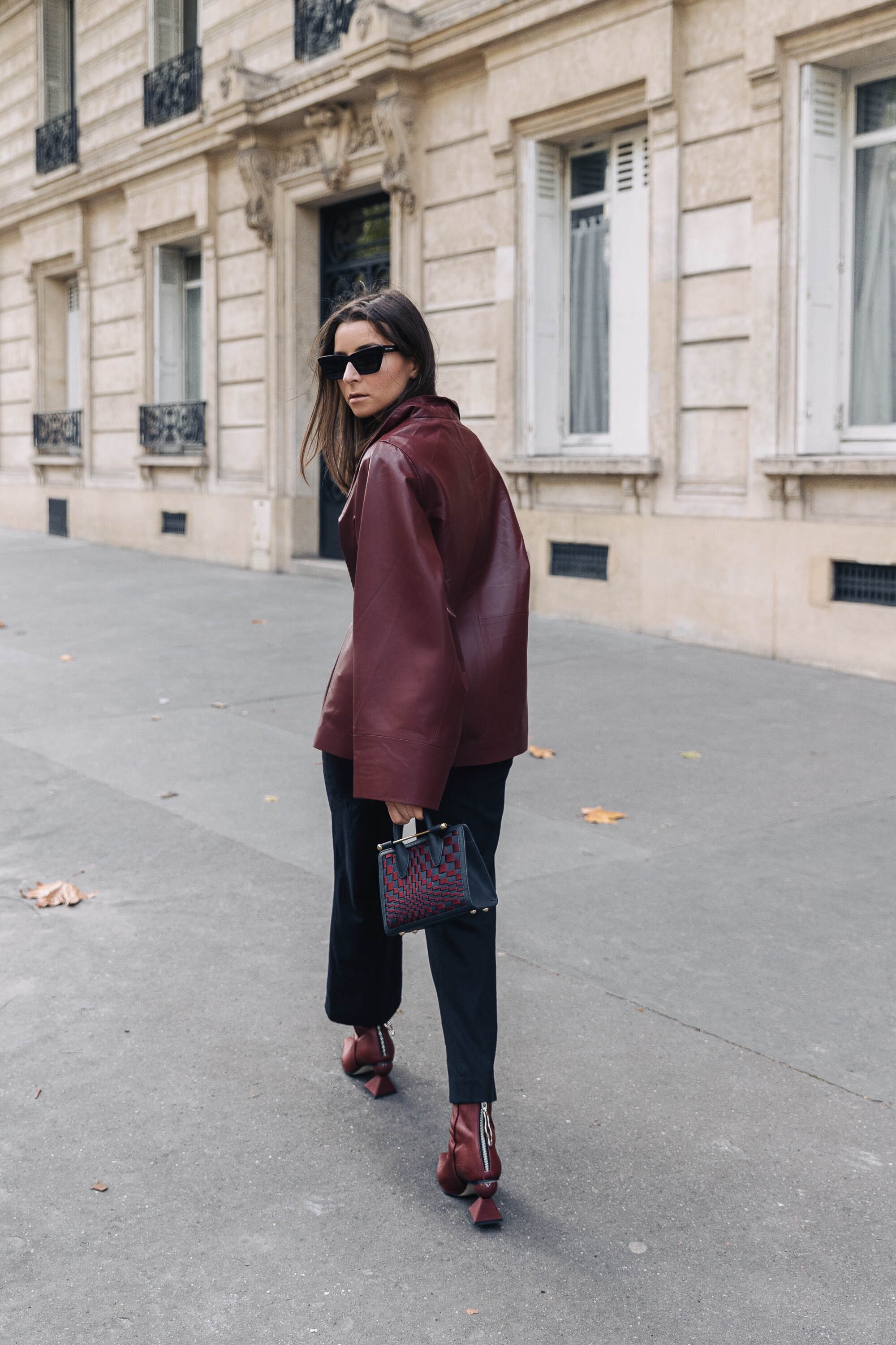PFW SS20 Street Style Fall 2019 Paris Fashion Week Julia Comil wearing bag strathberry, jacket Nour Hammour, shoes Yuul Yie
