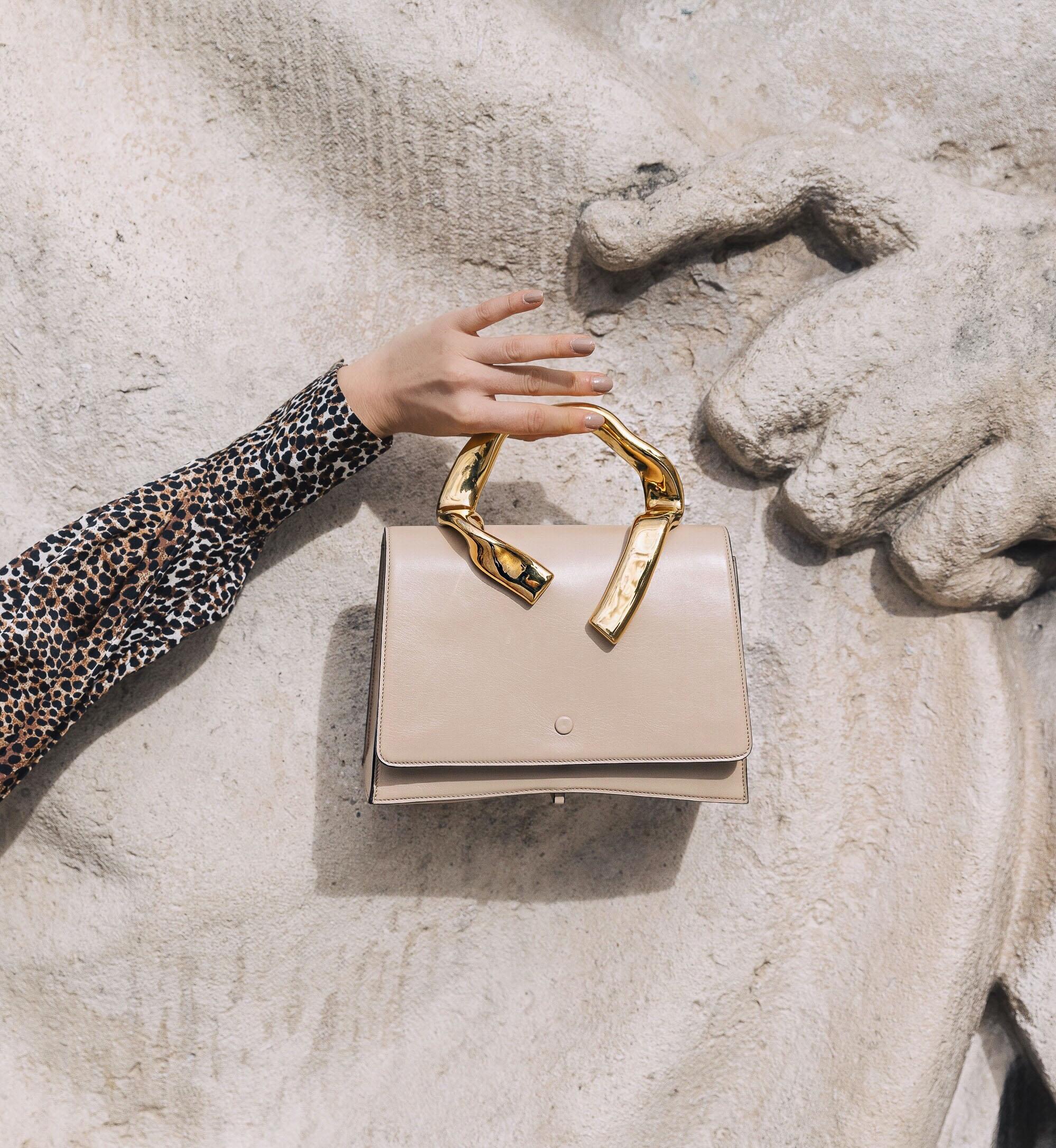 PFW SS20 Street Style Fall 2019 Paris Fashion Week Julia Comil wearing bag L Etrange Paris, blouse Equipment