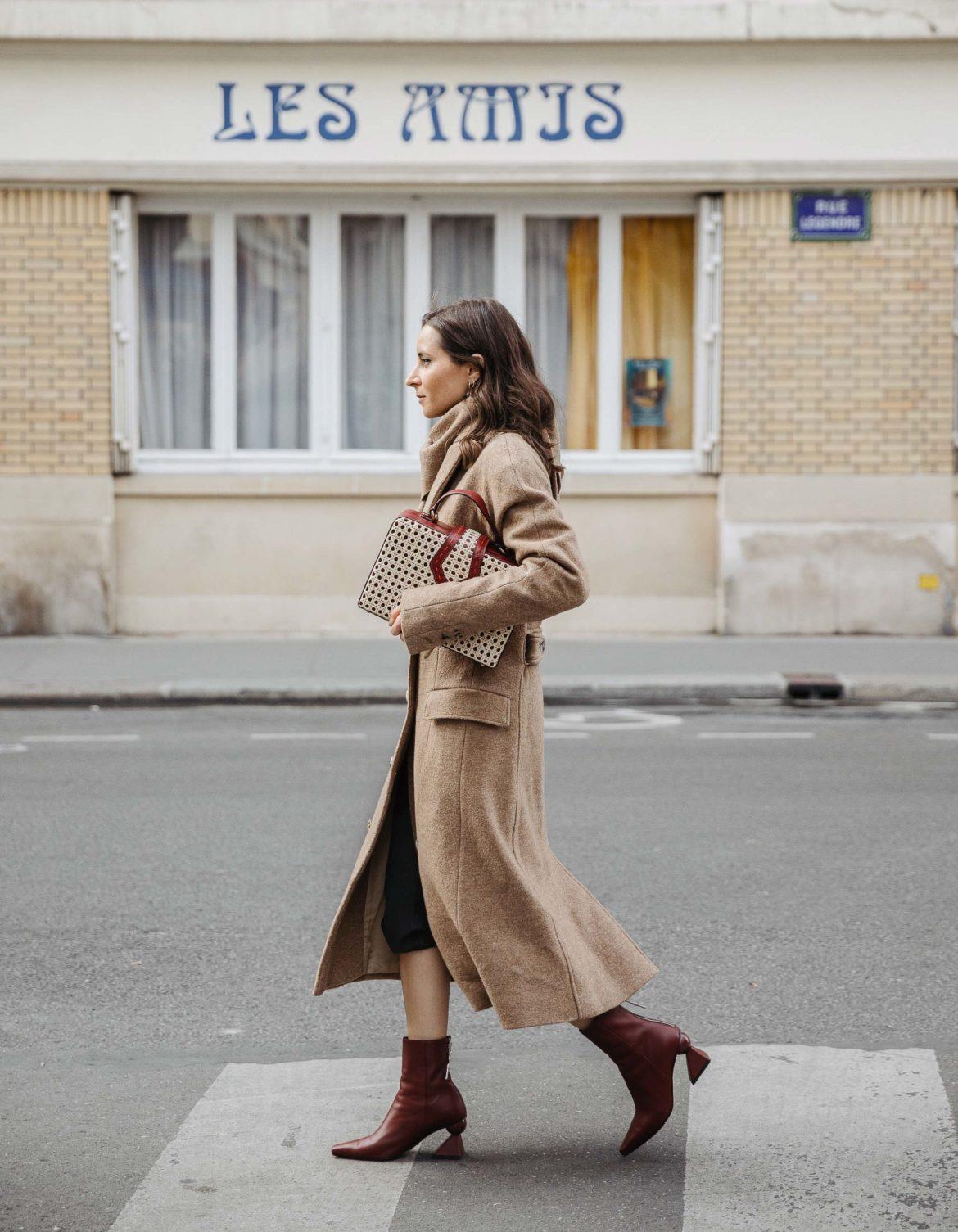 PFW SS20 Street Style Fall 2019 Paris Fashion Week Julia Comil wearing Negera coat, Nehera scarf, bag Mehry mu, boots Yuul Yie