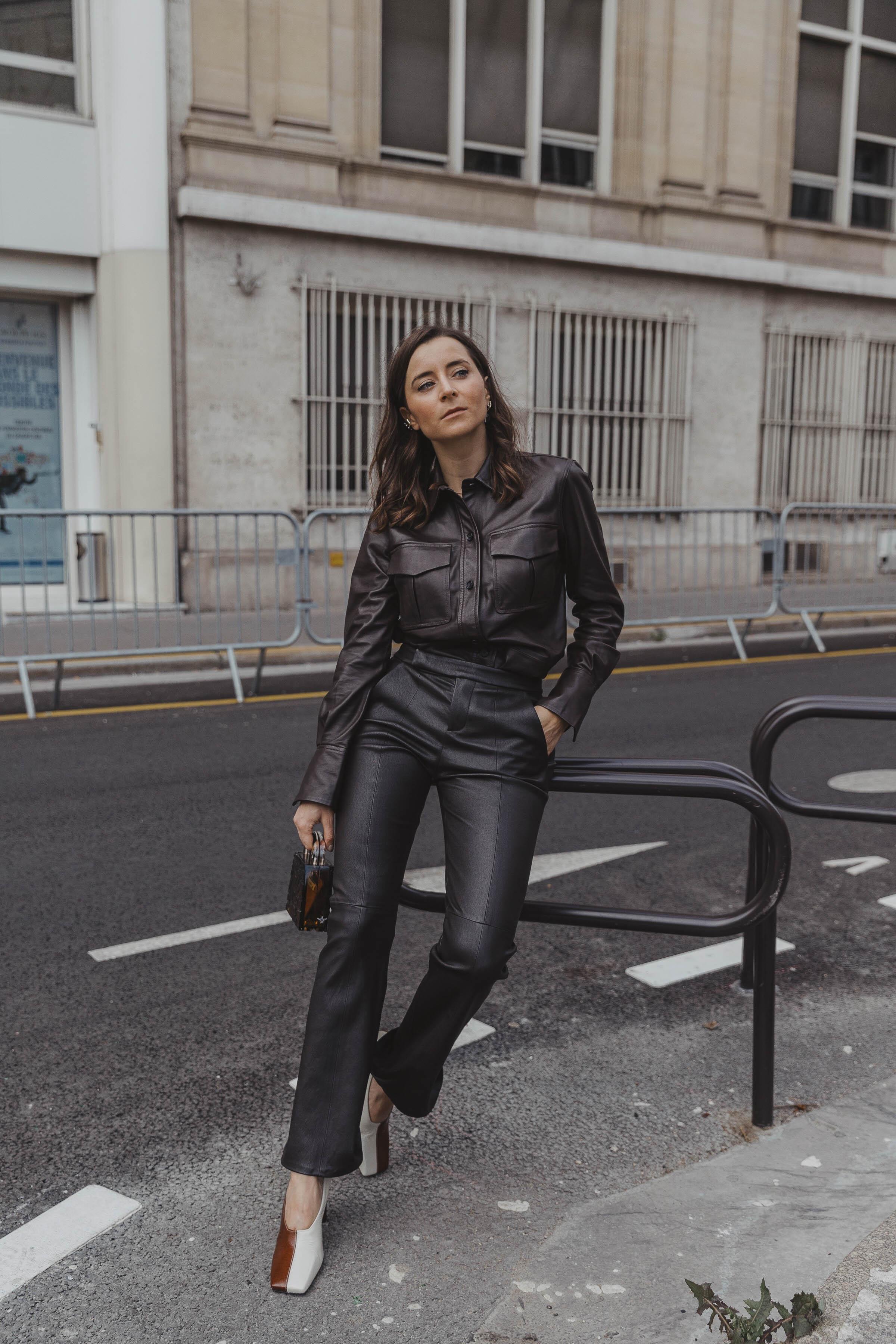 PFW SS20 Street Style Fall 2019 Paris Fashion Week Julia Comil wearing Equipment pants and shirt, bag Lilianafshar, pumps isa wandler