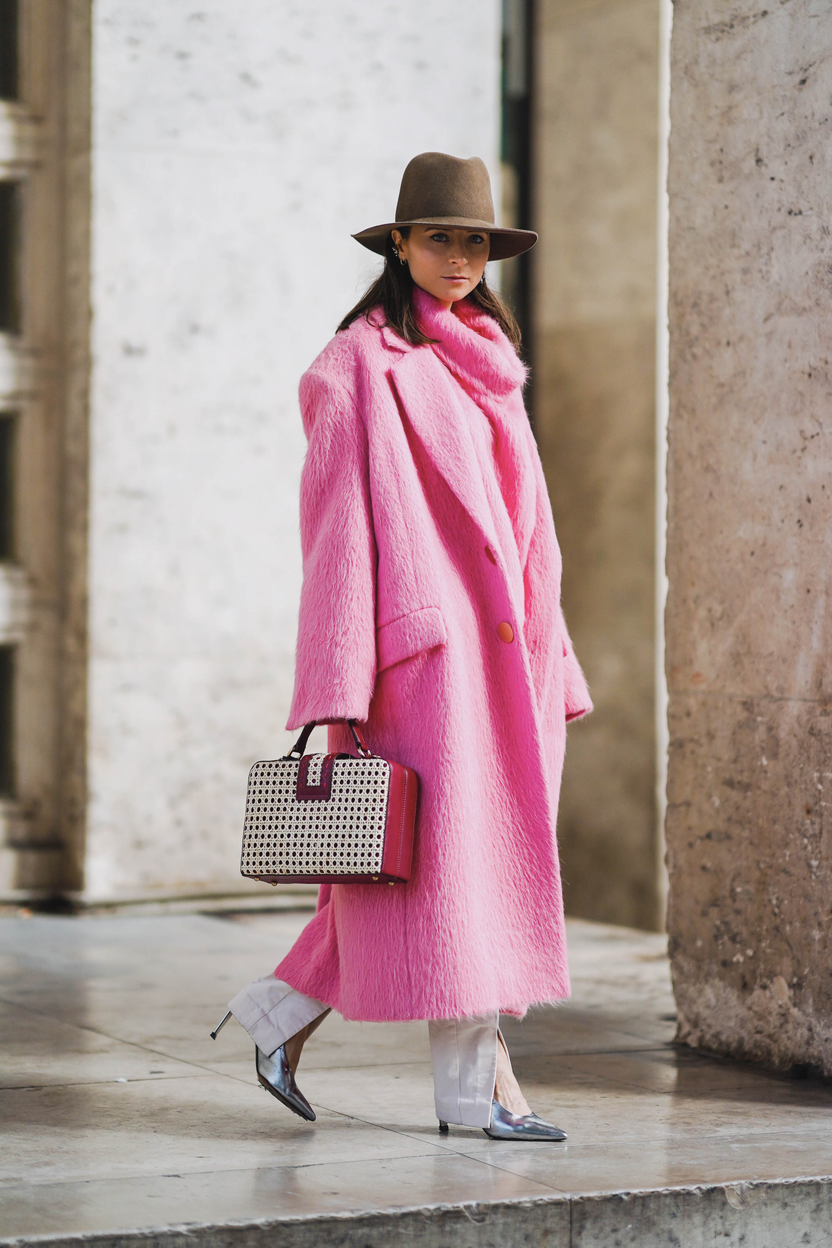 PFW SS20 Street Style Fall 2019 Paris Fashion Week Julia Comil wearing Kristina Fidelskaya coat, bag Mehry mu, pumps Clergerie, hat Janessa Leone