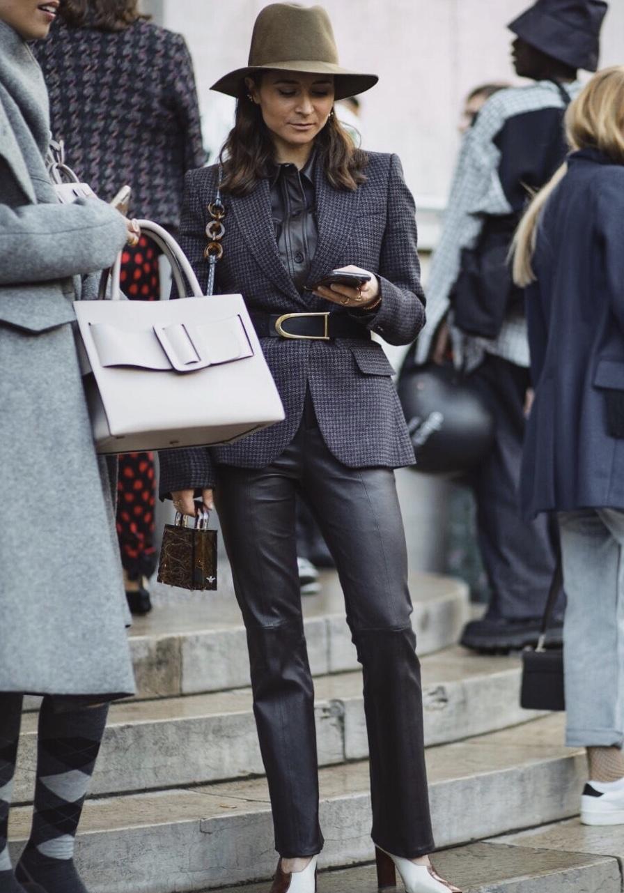 PFW SS20 Street Style Fall 2019 Paris Fashion Week Julia Comil wearing equipment, janessa leone and belt by St John